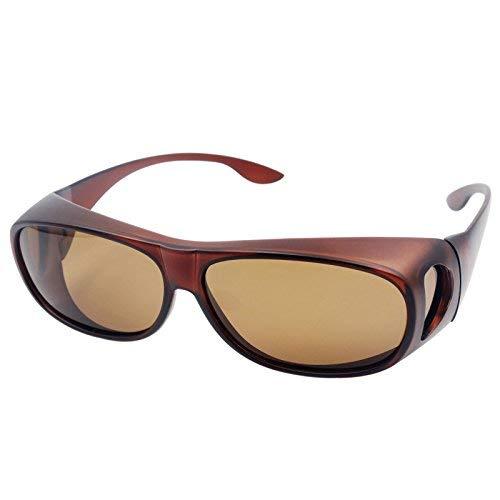Sonnenbrille Überziehbrille für Brillenträger Brille Herren Damen {Polarisiert Sonnenüberbrille über normale Brillen},UV400 sunglasses Fit Ove Rx Glasses (Braun)
