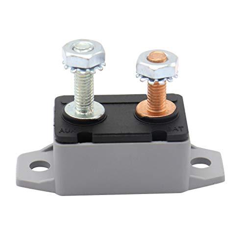 ELENXS Auto-Boots-Universal-50A automatisch zurückgesetzt, Kunststoff-Gehäuse Dual Socket Bolt 6-28V Circuit Breaker -