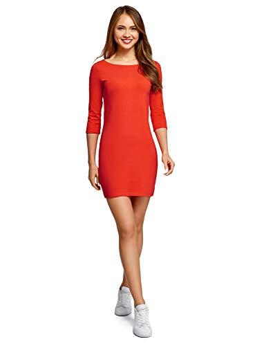 oodji Ultra Damen Baumwoll-Kleid Basic, Rot, DE 36 / EU 38 / S