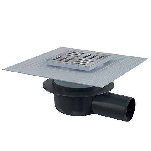 Bodenablauf Waagerecht 62L/Min Duschablauf Badablauf Edelstahl begehbare Dusche DN 50 Siphon Geruchsverschluss