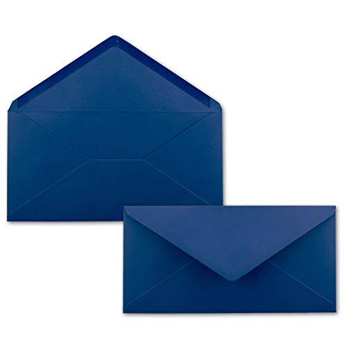 50 Brief-Umschläge Dunkel-Blau/Nachtblau DIN Lang - 110 x 220 mm (11 x 22 cm) - Nassklebung ohne Fenster - Ideal für Einladungs-Karten - Serie FarbenFroh®