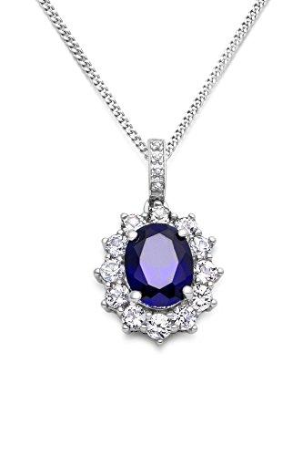 Miore Kette - Halskette Damen Kette Silberfarbig 925 Sterling Silber Saphir mit Rundschliff Zirkonia Steinchen 45 cm (Herren Blau Saphir Anhänger)