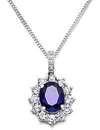 Miore Damen-Halskette 925 Sterling Silber Brillanten, Saphir blau und Zirconia Anhänger 45 cm Kette