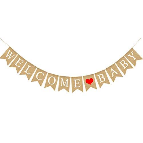 Willkommen Baby Buchstaben, Banner, Motiv Liebe, Dekorativ, Vintage, Rustikal, Jutewäsche, Banner, für Party zu Hause ()