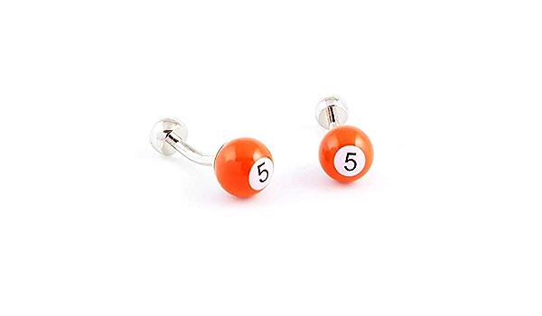 Boutons de Manchette Bille de Billard num/éro 5 de Couleur Orange