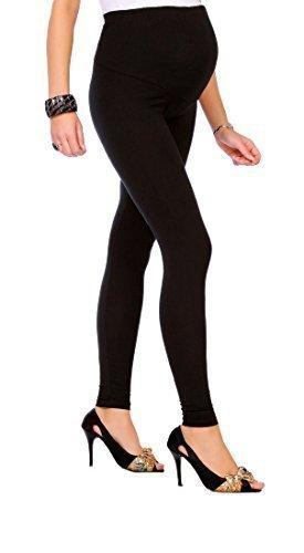 Futuro Fashion Umstandsleggins Knöchellang Sehr Warm Dicke Schwere Baumwolle (Fleece innen) Sehr Komfortabel Alle Größen EU 36 - 50 - Schwarz, 36 (Sie Hohe Stiefel Tragen)