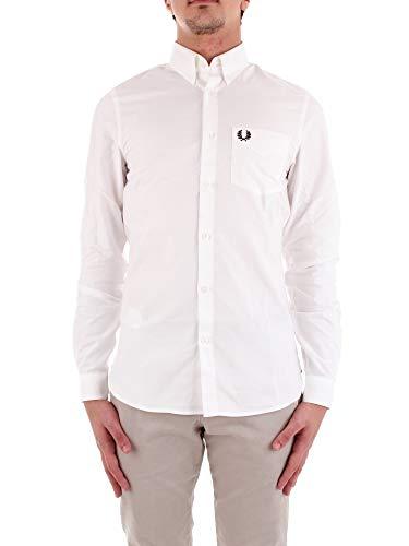 Herren Classic Langarm-oxford (Fred Perry Herren Classic Oxford Long Sleeve Shirt Button Down Hemd, weiß, Groß)