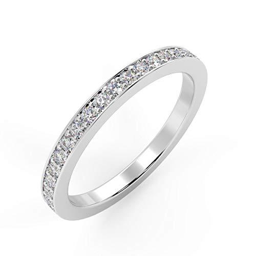 1.6mm 0.30 Ct Round Diamond Pave Set Full Eternity Ring in Hallmarked Platinum Size Q
