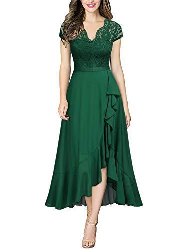 Miusol Encaje Gasa Alto Bajo Noche Vestido Largo para Mujer Verde Large