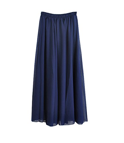 Wow Clothes da donna in Chiffon, lunga, a doppio strato, stile Boho-per gonne da donna, da spiaggia Blu navy