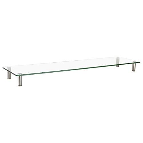 LogiLink BP0060 TV-Monitorerhöhung /-Tisch aus Glas (Dicke: 8mm), bis Belastung 20kg, höhenverstellbar Durchsichtig -