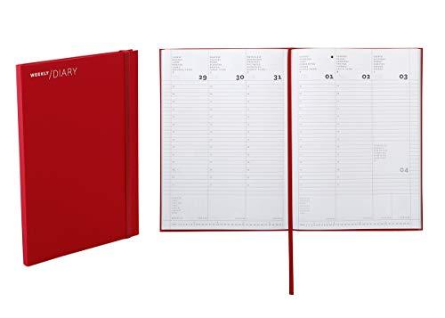 Agenda 2020 settimanale da scrivania, 17 × 24 cm colore rosso