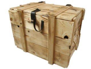 12er Holzkiste / Weinkiste / Kiste / Box / Weinverpackung aus Holz geflammt mit Klappdeckel, Kunstlederscharnier, Hanfseilgriff inklusive Holzwolle