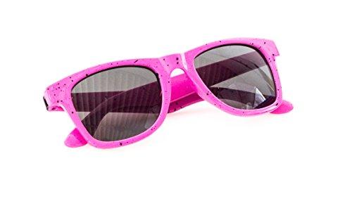 Wayfarer Nerd-Brille Rosa Sonnen-Brille ohne Sehstärke Schwarze Punkte 15cm Herren Damen Unisex...