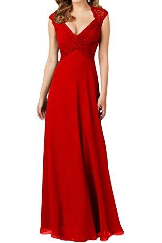 Milano Bride Damen Elegant Empire Hochtaille Abendkleid Brautmutter V-Ausschnitt Lang Chiffon Spitze Rot