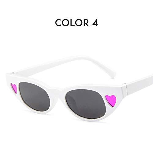 Loving Bird Liebevoller Vogel kleine süße Herz Sonnenbrille für Frauen Retro Cat Eye Sonnenbrille 2019 Shades für Frauen Spiegel Sommer Sonnenbrille UV400 Oculos, Farbe 4