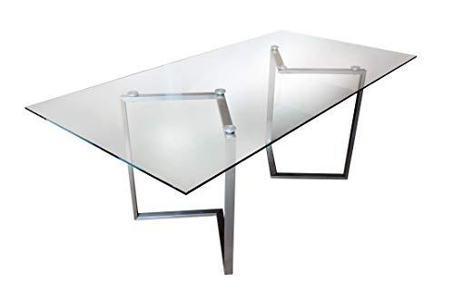 CHYRKA® Esszimmertisch Esstisch Wohnzimmertisch Bürotisch Computertisch Beistelltisch Edelstahl Schminktisch Moderne Design Glas Schreibtisch (120 x 80 cm)