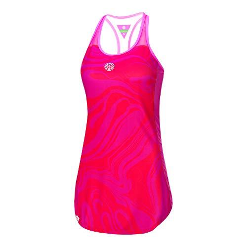 BIDI BADU Damen Tennis Kleid - Saira Tech Dress (3 in 1) - red/pink (FA18), Größe:XL