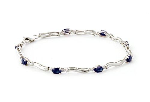 QP joailliers Saphir Naturel Bracelet en or blanc 9carats, 2.0-Coupe ovale-4937W