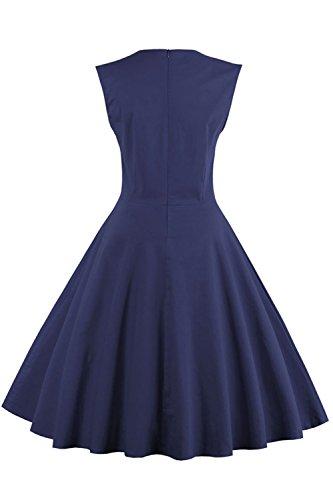 Babyonlinedress Robe de Soirée/Bal Courte Rétro Vintage Impression année 1950 Style Audrey Hepburn Rockabilly Swing sans manche avec Boutons Grande Taille Pois Marine Foncé846