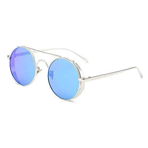 AMZTM Retro Polarized Sonnenbrille Damen Herren, Vintage Lennon Doppelte Brücke Metall Brille, Steampunk Stil Runde Linse 100% UV-Schutz(Silber Rahmen, Blau Linse)