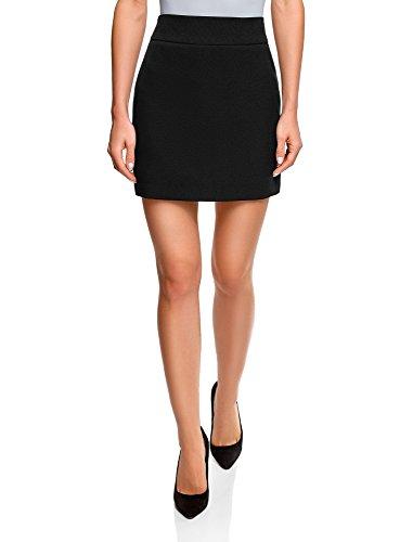 oodji Ultra Mujer Falda Corta Básica, Negro, ES 36 / XS