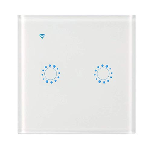 WiFi Touch Wand Leuchte Switch mit Alexa, AOZBZ 2 Weg Drahtlose Lichtschalter Smart Wall Schalter Gesteuert durch Echo/Echo Dot, Google Home und App IOS Android (Brauchen Neutral Draht)