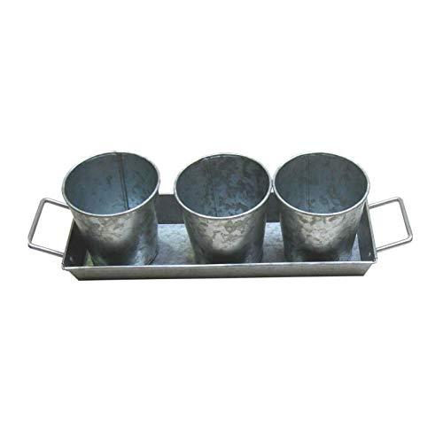 Set de 3 Pots et 1 Plateau a poignées - Acier galvanisé