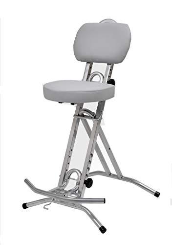 LIBEDOR Stehhilfe Stehhocker Stehsitz Sitz Stehstütze mit ergonomischer Sitz 6 cm dick im Silber...