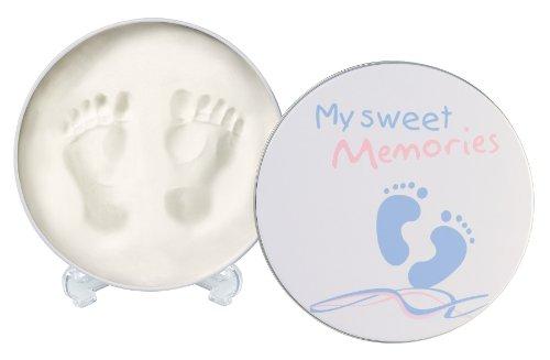 Cajita metálica redonda para conservar huellas del bebé