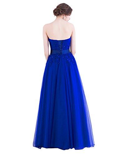 Dresstells Damen Bodenlang Ärmellos Tüll Abendkleid Brautjungfernkleid Sommerkleid mit Trägern Pailletten Blush