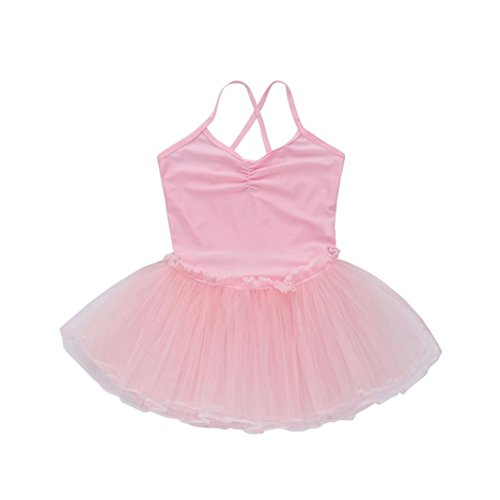 SHOBDW Dance Clothing, Toddler Girls Straps Leotards Ballet Short Sleeve Jumpsuit Bodysuit Dancewear Gymnastics Tutus Dress