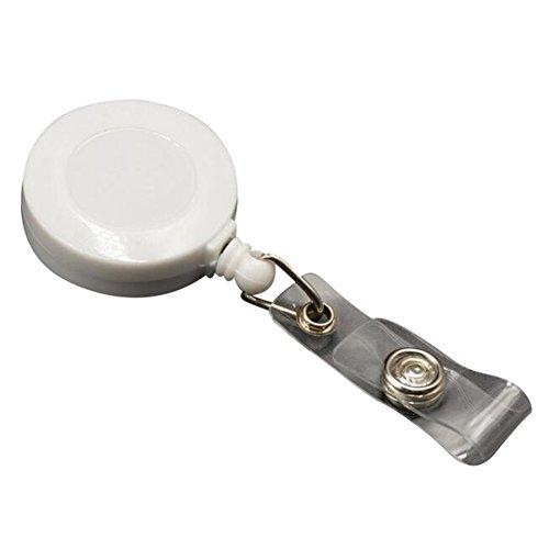 Highdas einziehbare Nylonschnur Abzeichen-Schlüssel Identifikation-Kartenhalter-Klipp-Bandspulen-Weiß 5 Sätze