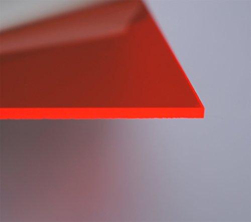 Corte de policarbonato placa de vidrio acrílico (300x 200x 3mm Rojo fluorescente