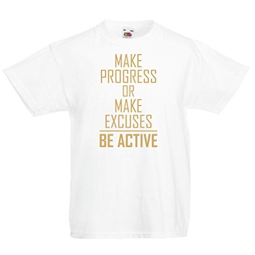 """lepni.me Kinder T-Shirt """"Be Active - leben ohne Ausreden"""" - Motivation - inspirierend tägliche Angebote für Erfolg (7-8 years Weiß..."""