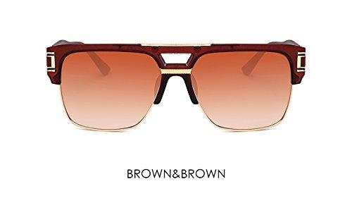 ZHANGYUSEN Men Sunglasses Gradient Glasses Luxury Brand Designer Big Frame Mirror Sun Glasses Women Reto Clear Eyewear,Brown Brown