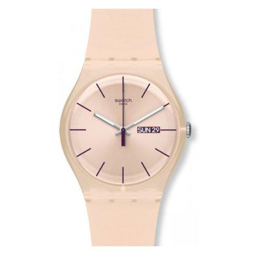 Swatch SUOT700 – Reloj analógico de mujer de cuarzo con correa de silicona beige