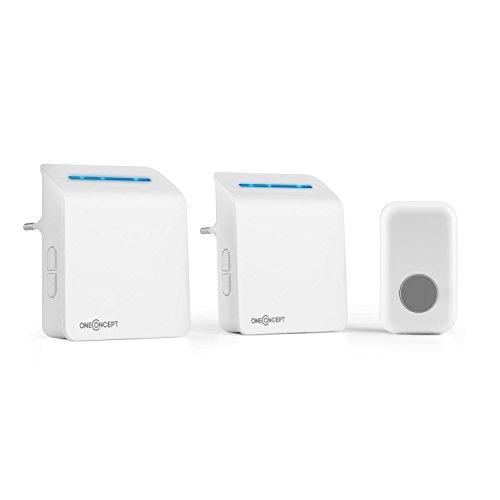 oneConcept Portatron 330 Sonnette sans fil (48 mélodies, portée jusqu'à 180 mètres, 2 récepteurs, volume réglable) - blanc