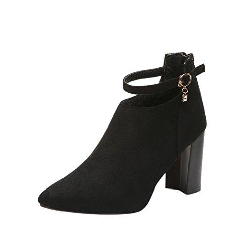 Stiefel Damen Schuhe Sonnena Women Party Wildleder Blockabsatz Boots Dicke High Heels Schlupfstiefel Riemchen Klassischer Sandals Frauen Schnallen Blockabsatz Schuhe (38, Sexy Schwarz) (Low Womens-stiefel)