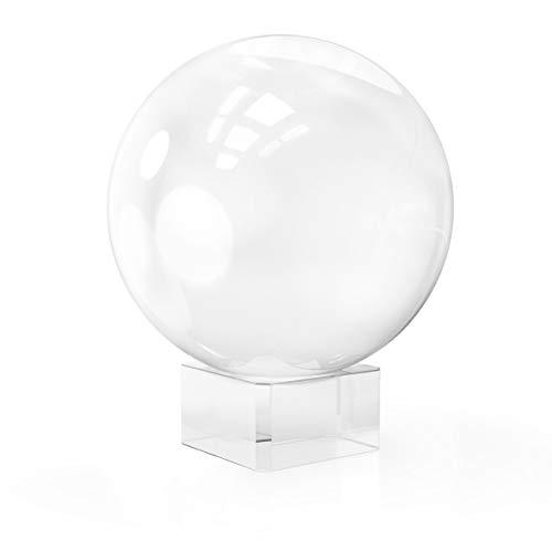 Navaris Glaskugel Fotografie Kugel aus K9 Glas - Fotokugel mit Ständer - Kristallkugel klare Kristall Deko mit Glasständer - Ø 80mm -