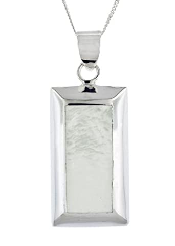 Tuscany Silver Sterling Silver Mother of Pearl Rectangular Pendant on Curb Chain of 46cm/18