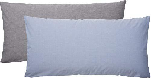 Meradiso® 2X Chambray Kissenbezug für Kissen 40 x 80 cm (Vorderseite: hellblau, Rückseite: grau, 40 x 80 cm) -