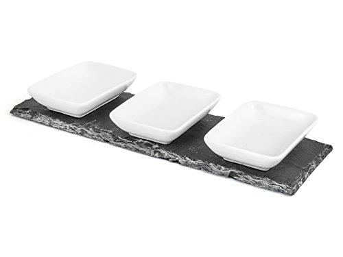 H&h appetizer rettangolare, set 4 pz. antipastiera in ardesia, 30x10 cm