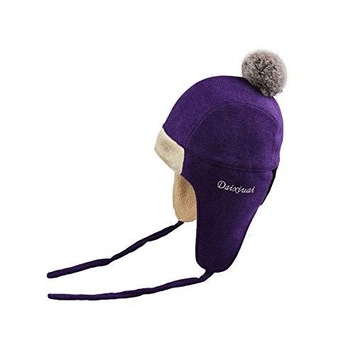 LIXUE Chapeau Femme Hiver Version Coréenne Lei Feng Chapeau Mignon Cold Hat Earmuffs Coton Chapeau Casquette De Ski Casquette Douce Et Protection De La Peau (Color : Purple)