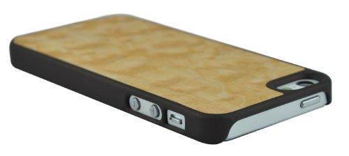 SunSmart Premium Quality Holz Ledertasche Cover für das Apple iPhone 5 5S 5C ahorn maser