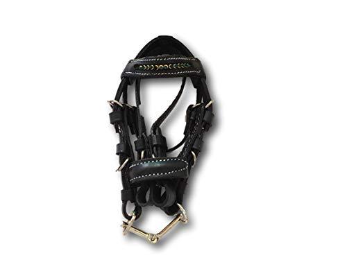 Pferdelinis Minitrense Schlüsselanhänger für Dekoration, Auto, Schlüsselbund - Schwarze Miniaturtrense Leder mit Strasssteinen in Silber, Gold, schwarz, türkis (grün)