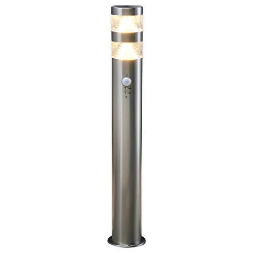 Lampenwelt LED Außenleuchte \'Lanea\' mit Bewegungsmelder (spritzwassergeschützt) (Modern) in Alu aus Edelstahl (1 flammig, A+, inkl. Leuchtmittel) - Wegeleuchte, Pollerleuchte, Wegelampe, Sockelleuchte