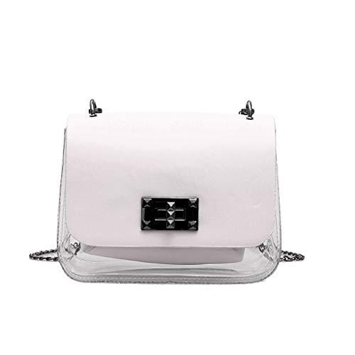 XZDCDJ UmhängeTaschen Damen Frauen transparent vielseitig niedlich Umhängetasche Umhängetasche kleine quadratische Tasche Weiß -