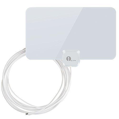 1byone Antenna interna per TV, DTT e DVB-T, 40 km di ricezione, 4 m di cavo coassiale, Bianco Brillante