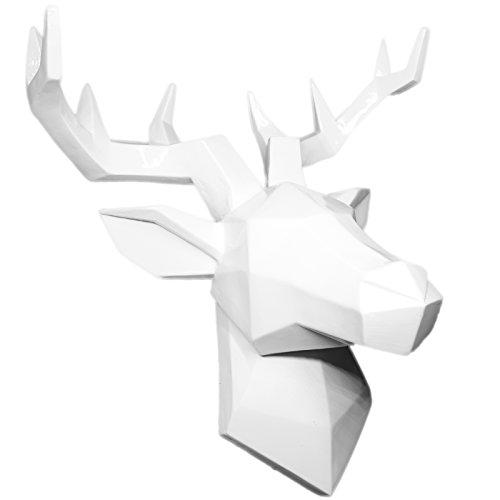 Hansmeier Hirsch Wandskulptur - Weiß - 42 x 41 cm - Wanddeko Geweih Modern - Hirschkopf 3D Deko Schädel - Robustes Dickes Material